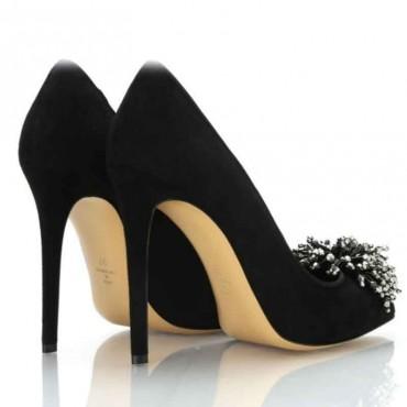 Scarpa donna Ninalilou decolte camoscio nero con applicazione scarpa donna