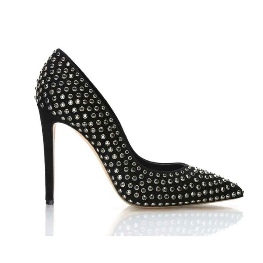 Scarpa donna Ninalilou decolte camoscio nero con borchie scarpa donna