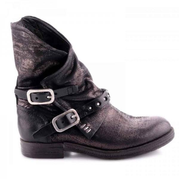 Stivale donna A.S.98 tronchetto pelle nero metallizato borchie scarpa donna