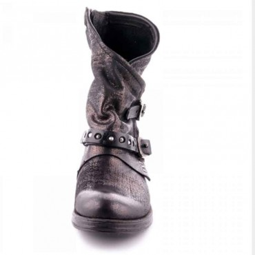 Stivale donna A.S.98  tronchetto pele nero metallizato borchie scarpa donna