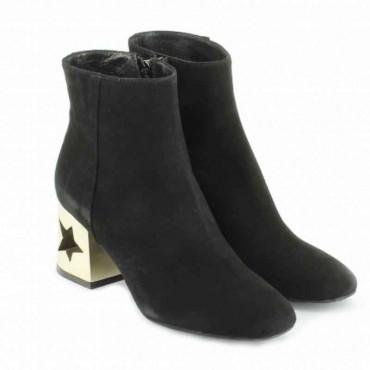 Tronchetto donna Tiffi camoscio color nero tacco stella