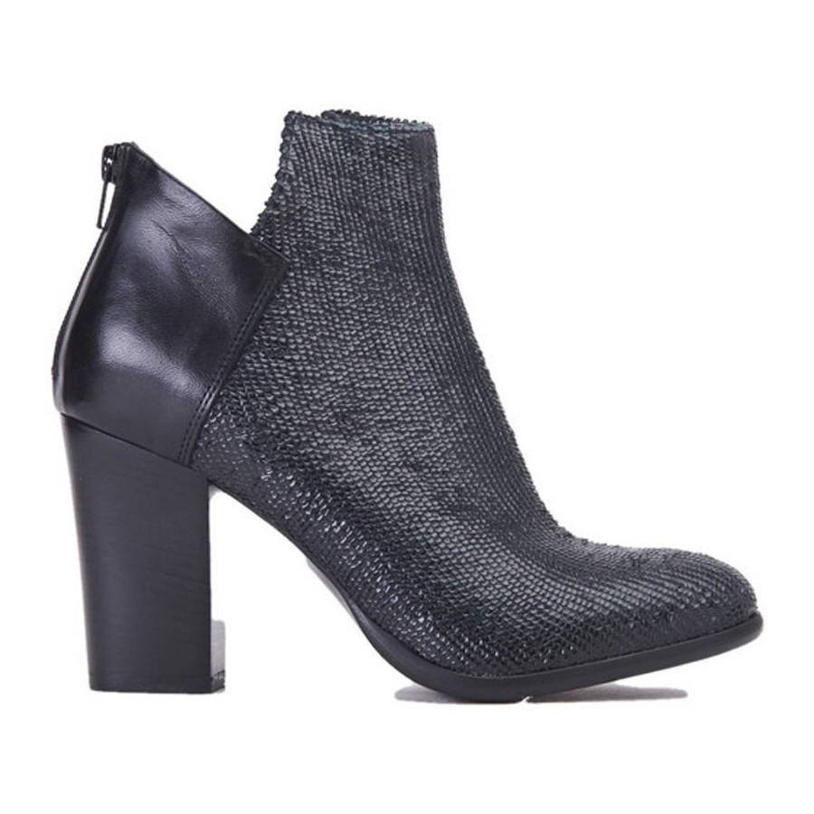 buy popular 41a32 96e85 Fiori Francesi scarpa donna tronchetto AI1475 tacco pelle nera squa...  Taglie Scarpe Donna 37