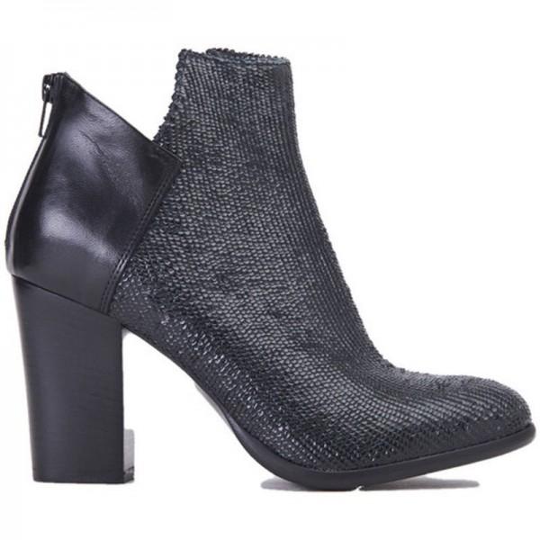 Fiori Francesi scarpa donna tronchetto AI1475 tacco pelle nera squama