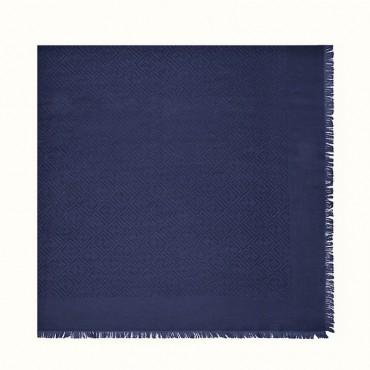 Fendi Scialle in seta e lana blu Signature FXT9249EAF0QA2