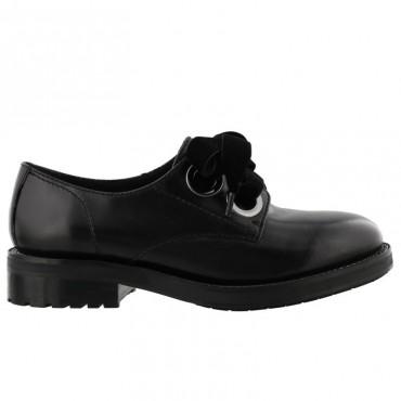 Elvio Zanon scarpa donna francesina in pelle nera laccio velluto G2902G
