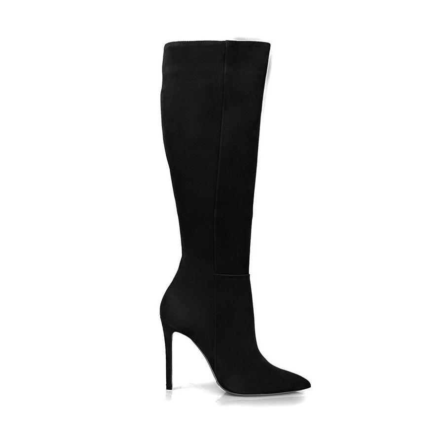 Rago collection stivale donna tacco 100 camoscio pelle nero mod z07