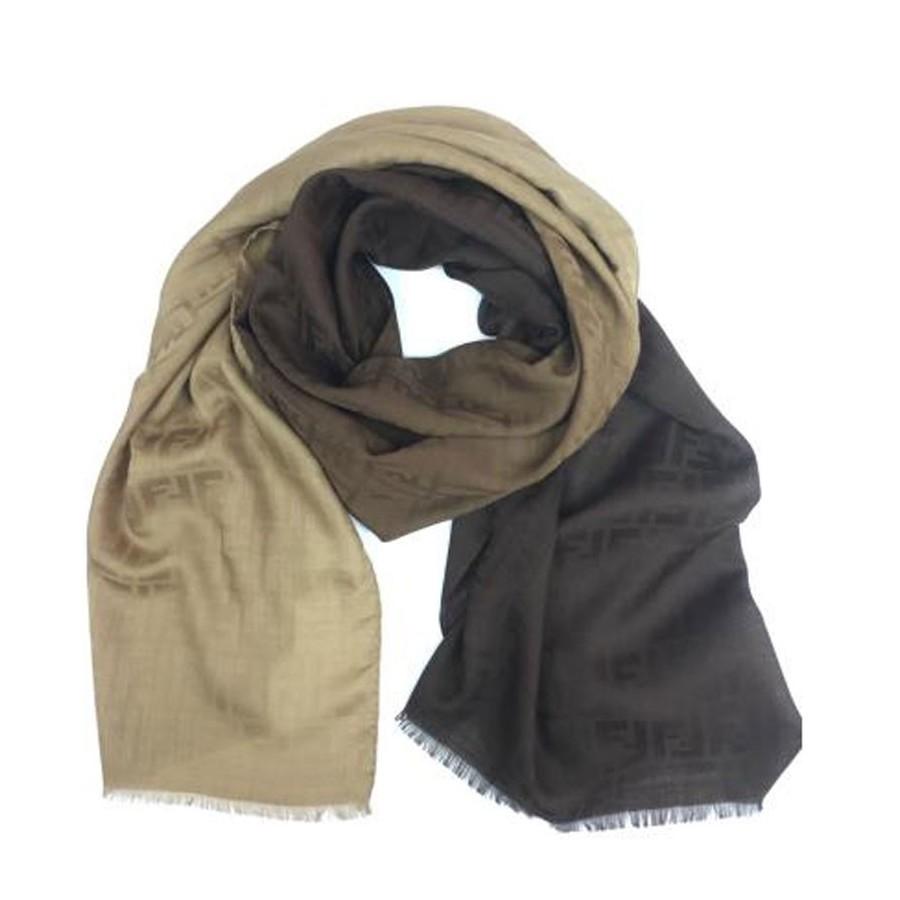 Fendi stola jacquard logo zucca seta lana in gradazioni di marrone FXS143-Y5A