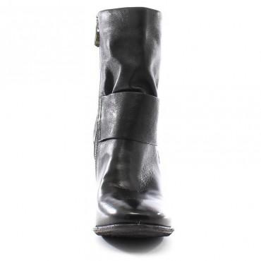 A.S.98 stivale donna tacco tronchetto  pelle nero 170201