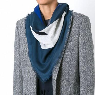 Fendi kefhia Sciarpa uomo 'Bag Bugs' misto seta lana blu grigio FXS2966X7