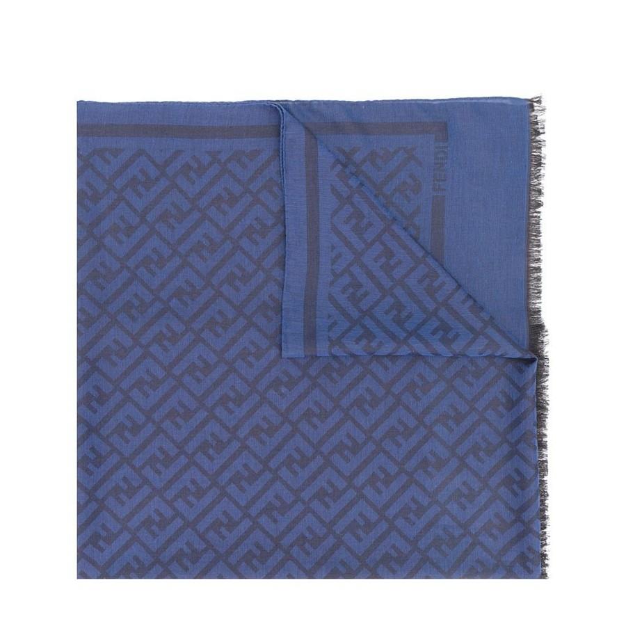 economico in vendita nuovi prezzi più bassi offerte esclusive FENDI Sciarpa con logo FF misto cotone-lana-seta colore blu fxs1432te