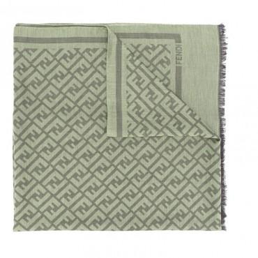 FENDI Sciarpa con logo FF  misto cotone-lana-seta colore verde fsx1432te