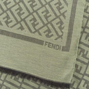 FENDI Sciarpa con logo FF  misto cotone-lana-seta colore blu