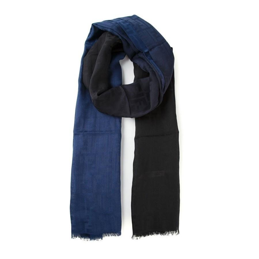 best authentic 14490 7a249 FENDI Sciarpa logo FF in misto seta lana in sfumatura blu nero FXS1...