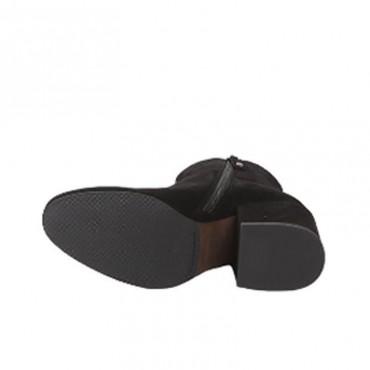 Elvio Zanon tronchetto donna camoscio doppia zip tacco quadro nero g3906g