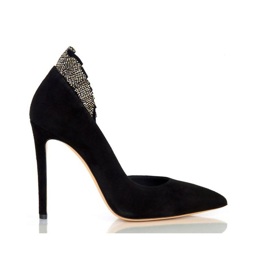 Ninalilou scarpa donna decolte camoscio nero aperto con borchie 272530mc