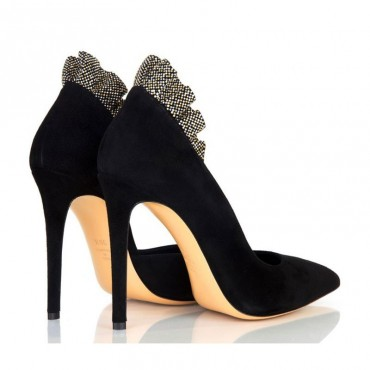Women's Ninalilou black suede boot shoe with women shoe studs