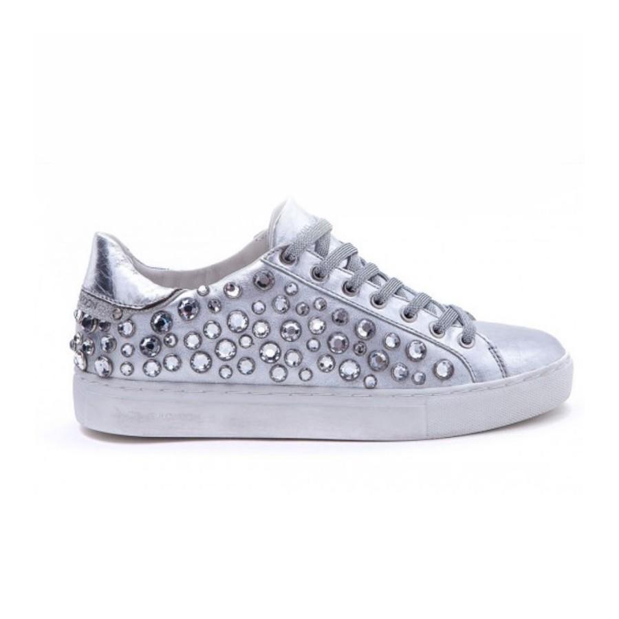 Crime London scarpa donna sneackers bassa pelle argento swarovski 25221