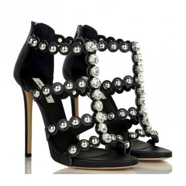 Ninalilou sandalo alto in pelle nero swarovski e borchie 281013