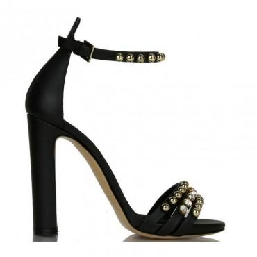 Ninalilou sandalo alto in pelle nero swarovski e borchie 281032