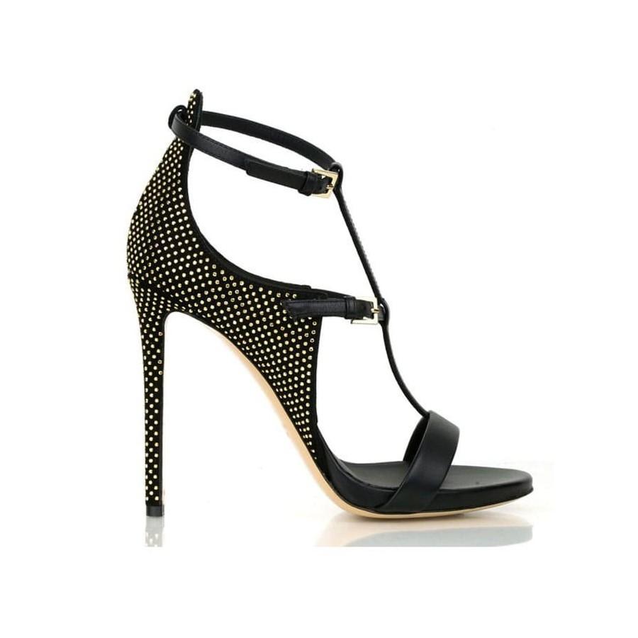Ninalilou sandalo alto in pelle nero micro borchie 281006ST