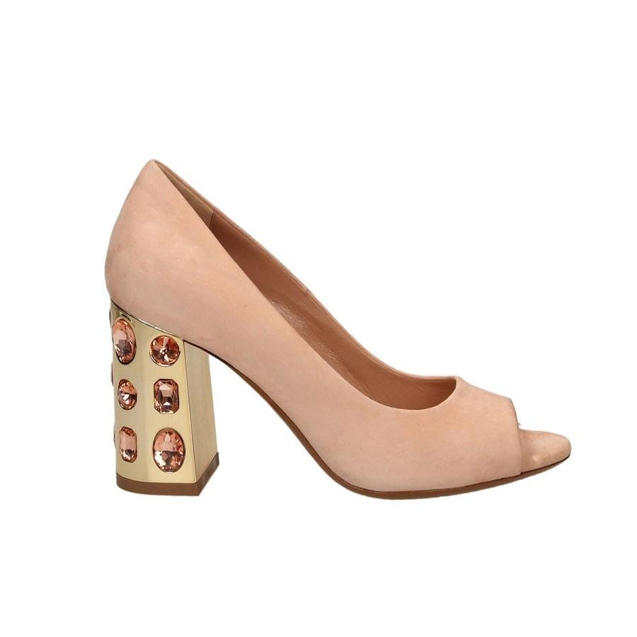 Tiffi scarpa donna decoltè spuntato camoscio tacco gioiello color pesca A10/80P