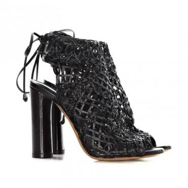 Tiffi sandalo tronchetto intrecciato in pelle nero A03/100A