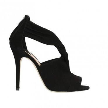 The Seller sandalo donna su tacco camoscio nero intreccio s7675