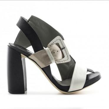 Ixos sandalo donna tacco asimmentrico pelle tricolor  45110