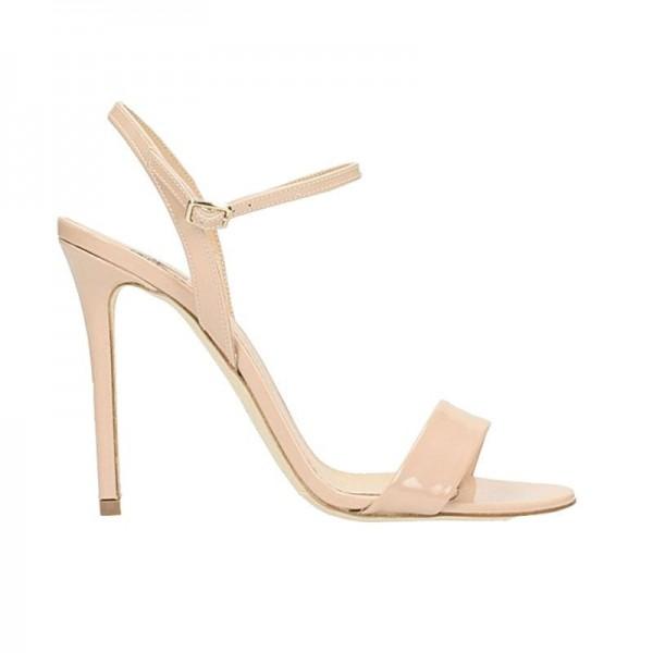 The Seller sandalo donna su tacco in vernice braccialetto caviglia