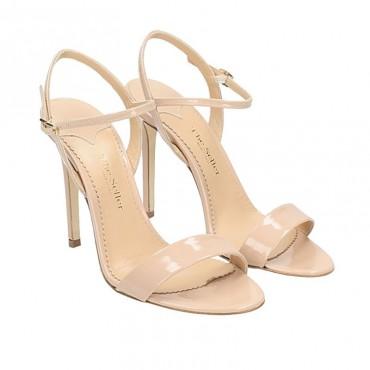 The Seller sandalo donna su tacco in vernice nude braccialetto caviglia S7648