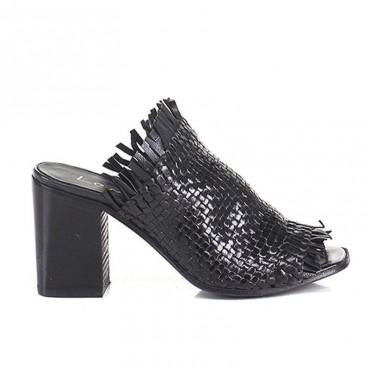 Lemarè scarpa donna sabot spuntato in pelle intrecciata nera spuntato 1723