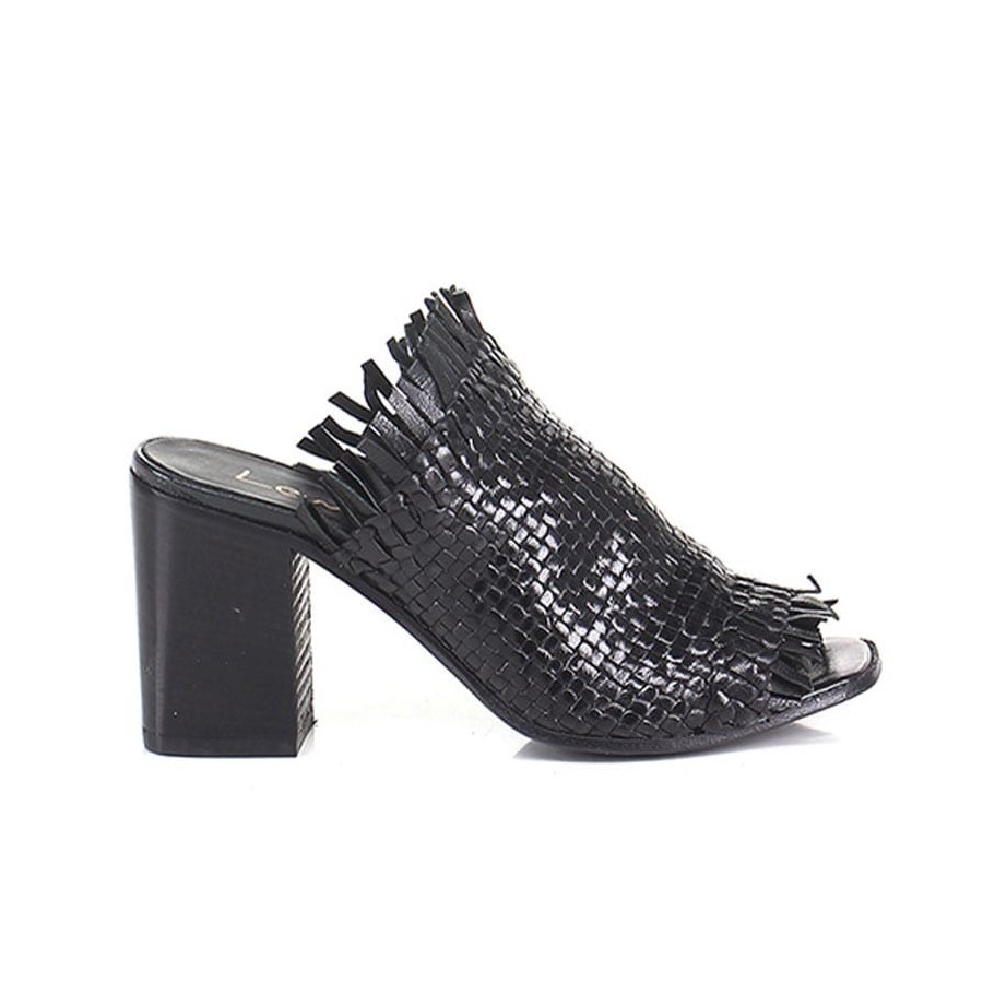 Lemarè scarpa donna sabot spuntato in pelle intrecciata nera spuntato 1723 3ec6fd04377