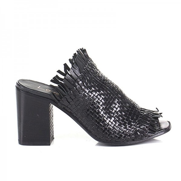 Lemarè scarpa donna sabot spuntato in pelle intrecciata nera spuntato