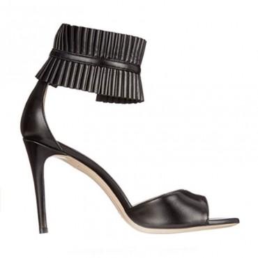 DeiMille sandalo su tacco in pelle nera decorazione caviglia