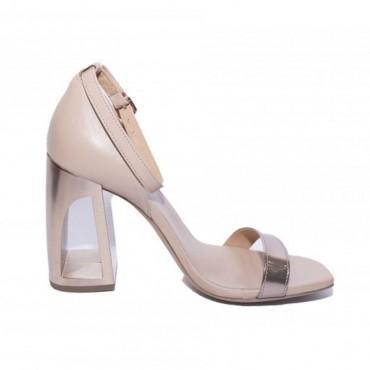 Vic matiè sandalo su tacco cavo con strisce pelle beige e platino