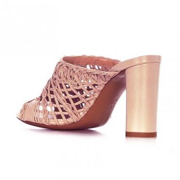 Tiffi sandalo sabot intrecciato in pelle rosa