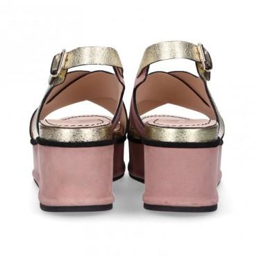 Elvio Zanon sandalo in pelle metallizzata craccata  su zeppa