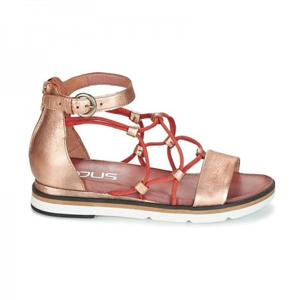 Mjus sandalo su zeppa bassa intreccio lacci pelle metallizzata rosa